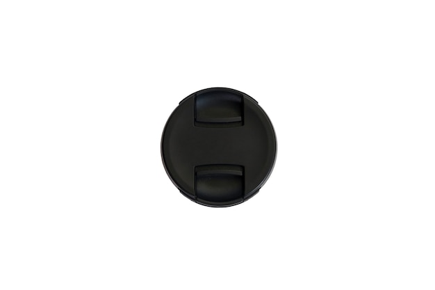 Osłona obiektywu lustrzanki na białym tle