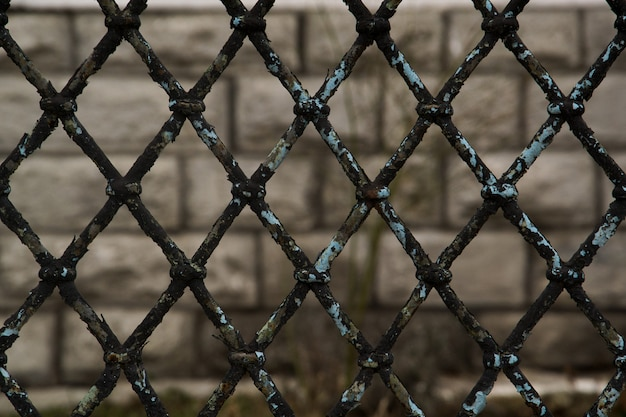 Ośniedziały łańcuszkowy ogrodzenie na szarym tle, popielatym i czarnym abstrakcjonistycznym zbliżeniu łańcuszkowego połączenia tło