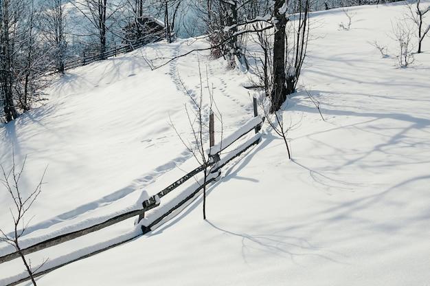 Ośnieżona płotowa wsi zimy pogodna krajobraz