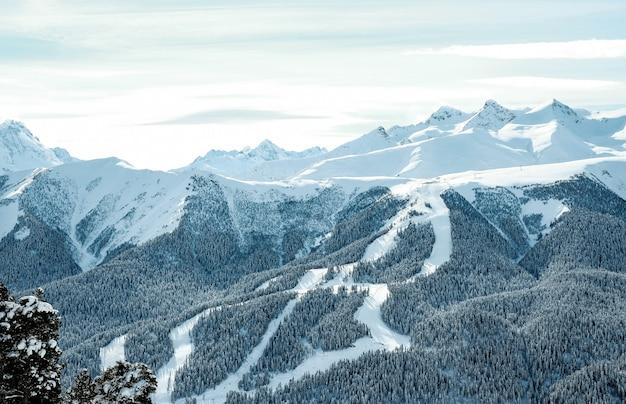 Ośnieżone góry kaukazu w zimie