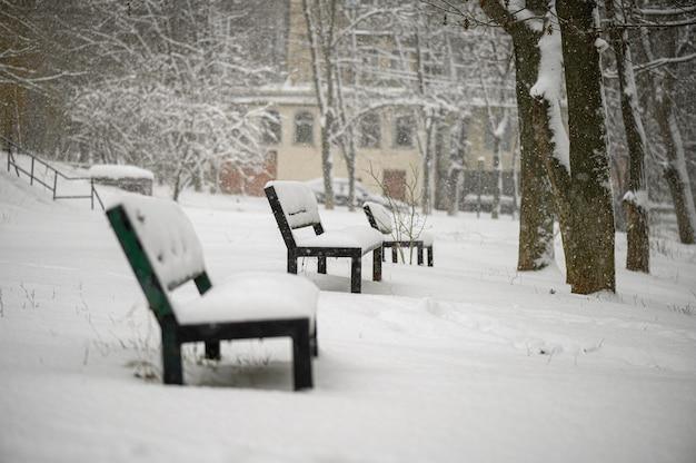 Ośnieżone ławki w parku dzielnicy mieszkalnej
