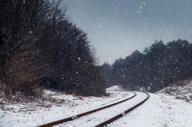Ośnieżone tory kolejowe w lesie wieczorem zimą podczas obfitych opadów śniegu