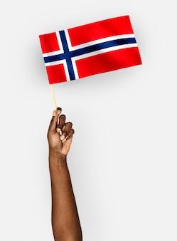 Osoba machająca flagą królestwa norwegii