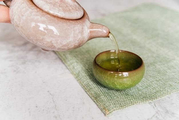 Osoba nalewająca herbatę ziołową z czajnika w filiżance na podkładkę