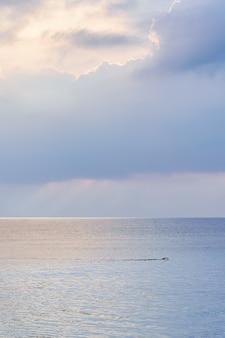 Osoba pływająca na środku morza w spokojny dzień o zachodzie słońca.