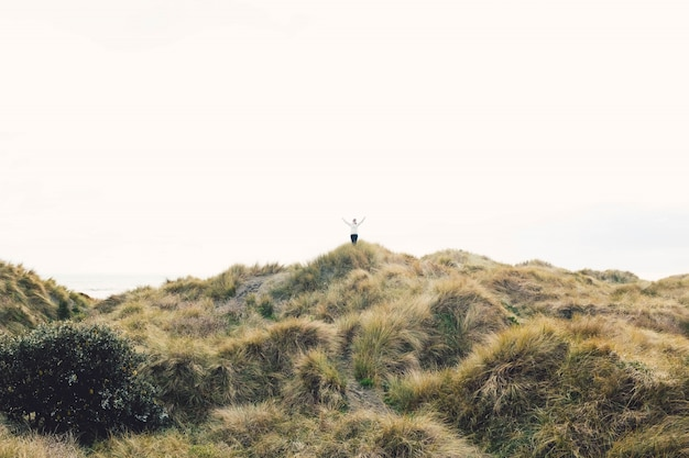 Osoba stojąca na szczycie wzgórza pokrytego suchą trawą pod czystym niebem