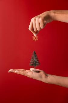 Osoba trzymająca wystrój drzewa i gwiazdę