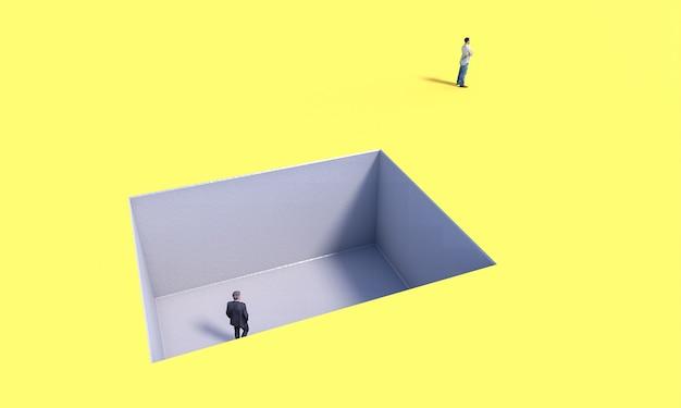 Osoba w trudnej sytuacji i osoba, której to nie obchodzi. koncepcja egoizmu modele 3d