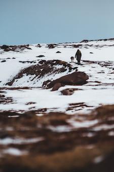 Osoba wraz ze zwierzęciem na zaśnieżonym terenie w ciągu dnia