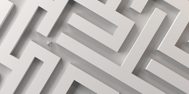 Osoba zagubiona w labiryncie. zamieszanie, stres, niepokój. ilustracja 3d. znalezienie drogi.