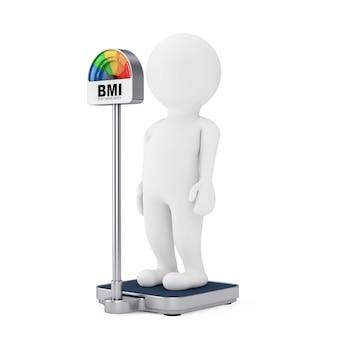 Osoba znaków 3d na skalę podłogową kontroli wagi medycznej z bmi lub wskaźnik masy ciała miernik dial gage na białym tle. renderowanie 3d