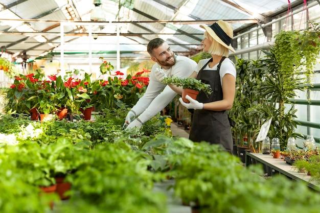 Osoby średnio ujęcia dbające o rośliny
