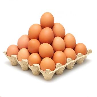 Ostrosłup brown jajka odizolowywający na bielu