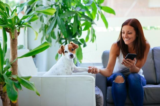 Ostrożna kobieta ze swoim zwierzakiem do corocznej inspekcji