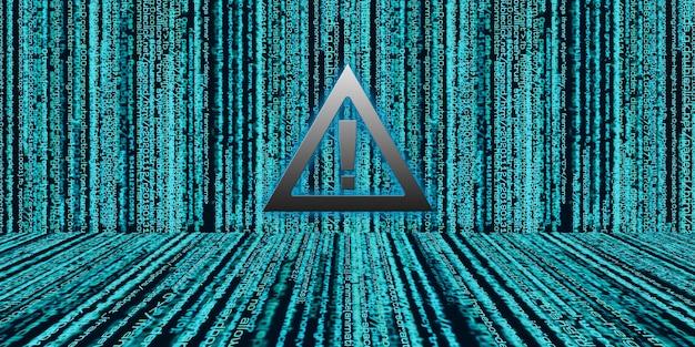 Ostrożnie znak wykrzyknik pokaż naruszenie danych w kodzie binarnym hasło warunki bezpieczeństwa informacji cyber security concept 3d illustration