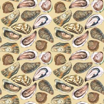 Ostrygi akwarela ręcznie rysowane wzór, izolowana na białej powierzchni