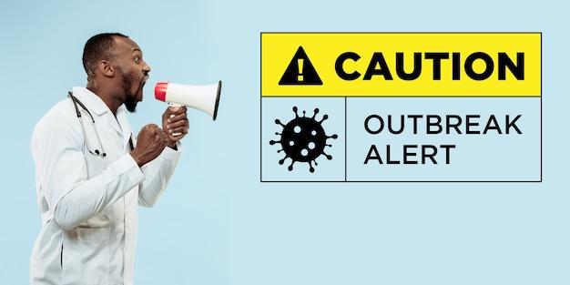Ostrzeżenie młodego lekarza o rozprzestrzenianiu się koronawirusa i przypadkach na całym świecie, ostrzeżenie o epidemii, zachęcanie do poddania kwarantannie. ochrona przed wirusem grypy, zapobieganie, leczenie. opieka zdrowotna i medycyna podczas pandemii.