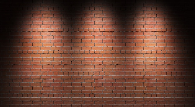 Oświetlony mur z cegły. ilustracja 3d.