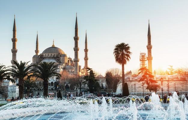 Oświetlony niebieski meczet sułtana ahmeda przed wschodem słońca, is