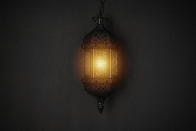 Oszałamiająca latarnia świeca ramadan na czarnym tle.