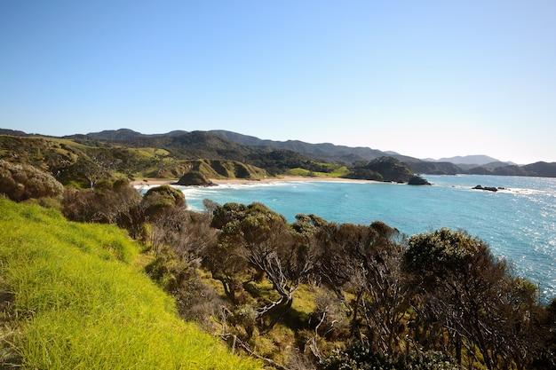 Oszałamiająco widok whangaruru zatoka w zimie od starej russel drogi, zatoka wyspy, nowa zelandia