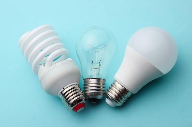 Oszczędność energii i żarówka z bliska na niebieskim tle pastelowych