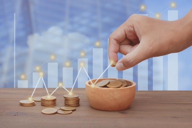 Oszczędność pieniędzy na inwestycje finansowe i koncepcja biznesowa.