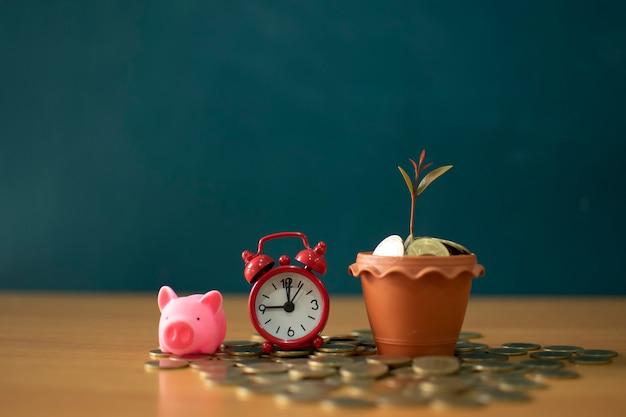 Oszczędności, rosnące kolumny monet