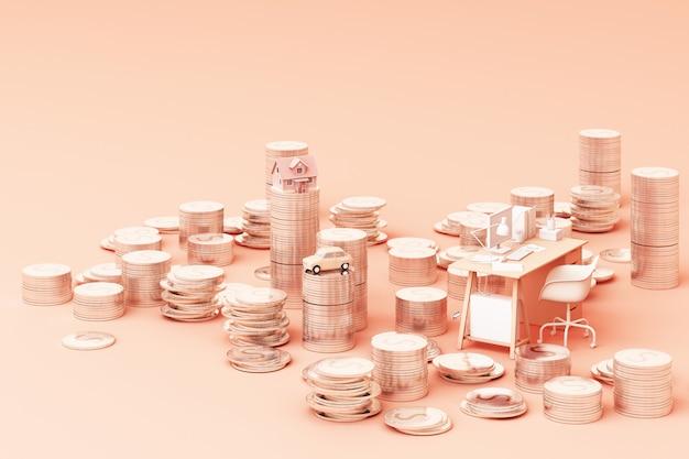 Oszczędzanie pieniądze pojęcie, biznesowy bogaty dochód pokazuje jak sterta pieniądze monety narastająca strzała z prosiątko banka uśmiechem nad monetami wypiętrza 3d rendering