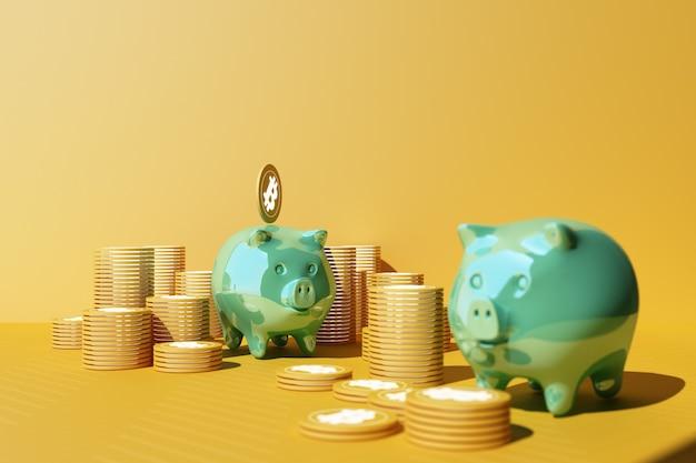 Oszczędzanie złotego bitcoina w skarbonce, handel walutami cyfrowymi z kryptowalutą, monety z zyskiem, koncepcja finansowania w żółtym i zielonym odcieniu. renderowanie 3d