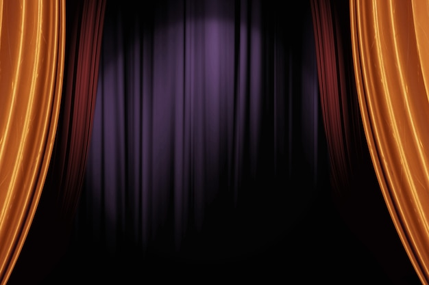 Otwarcie złotych i czerwonych zasłon scenicznych w ciemnym teatrze na tle występów na żywo