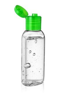 Otwarta butelka środka dezynfekującego do rąk lub żelu antyseptycznego izolowane