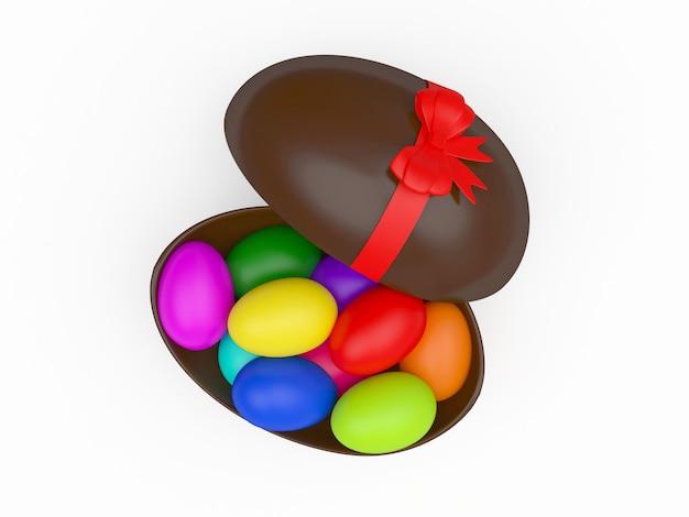 Otwarta, czekoladowa pisanka wypełniona kolorowymi słodyczami