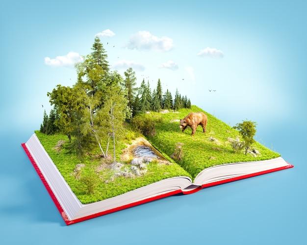 Otwarta czerwona księga z dzikim lasem i niedźwiedziem na stronach. lista gatunków zagrożonych wyginięciem