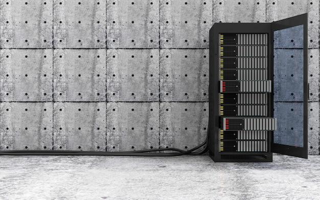 Otwarta nowoczesna szafa serwerowa z grubymi kablami drutowymi