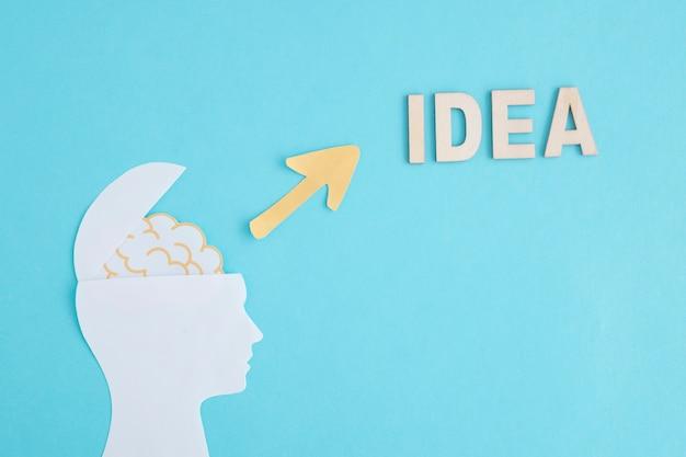 Otwarta papierowa ludzka głowa wskazuje słowo pomysł na błękitnym tle z żółtą strzała