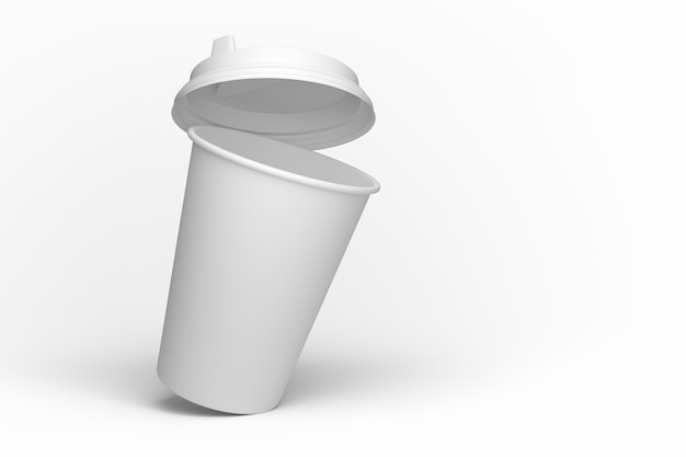 Otwarta pokrywka kubka papierowego. kubek papierowy przechylony. makieta biały papierowy kubek do projektowania. renderowania 3d.