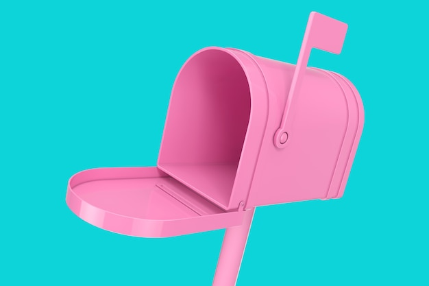 Otwarta różowa skrzynka pocztowa makieta w stylu bichromii na niebieskim tle. renderowanie 3d