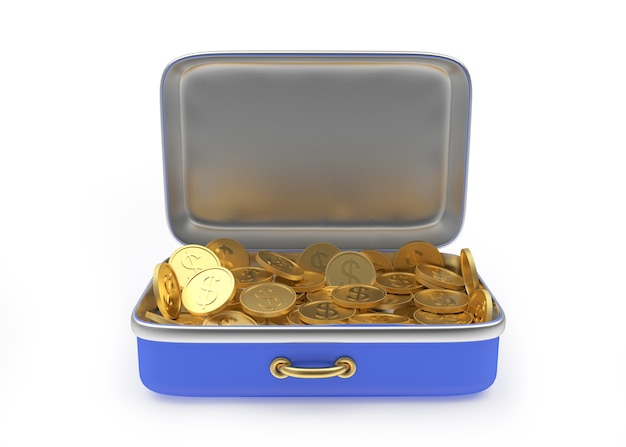 Otwarta walizka wypełniona złotymi monetami 3d