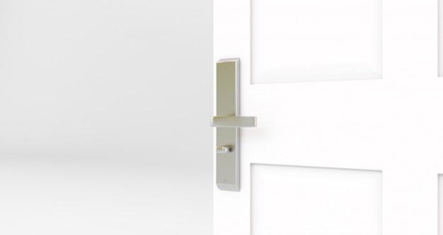 Otwarte białe drzwi. pokój z otwartymi drzwiami