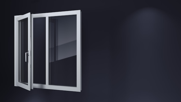 Otwarte białe nowoczesne plastikowe okna.