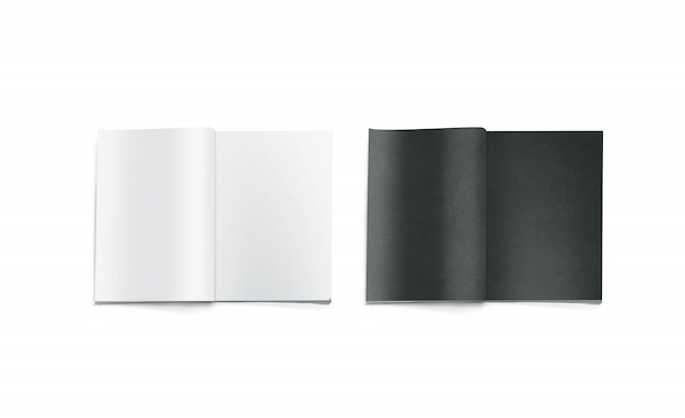 Otwarte czarne i białe puste magazyny