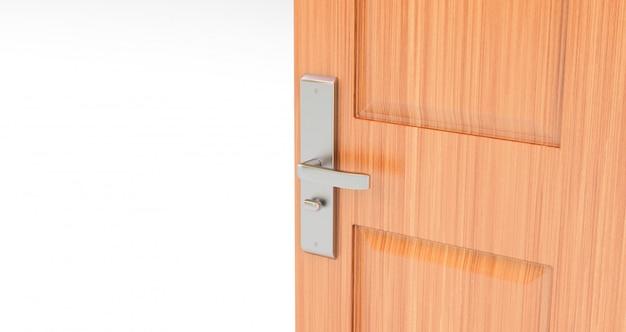 Otwarte drewniane drzwi. pokój z otwartymi drzwiami