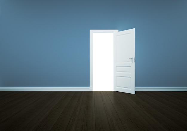Otwarte drzwi na białym tle