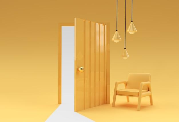 Otwarte drzwi symbol nowej kariery, możliwości, przedsięwzięć biznesowych i inicjatywy.
