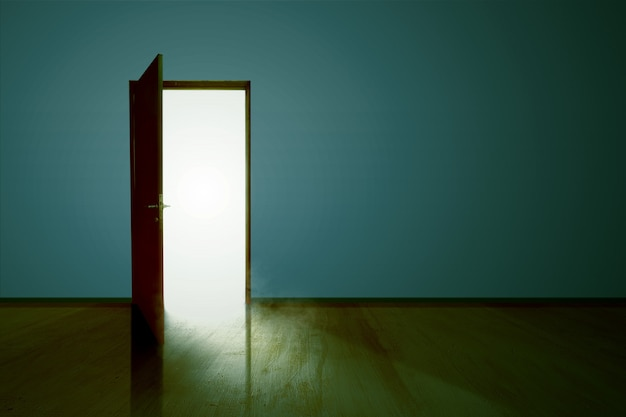 Otwarte drzwi z białym światłem wewnątrz z drewnianą podłogą