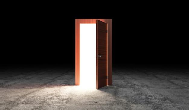 Otwarte drzwi z portalem na betonowej posadzce z efektem świetlnym