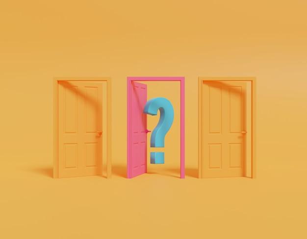 Otwarte drzwi z żółtym znakiem zapytania.