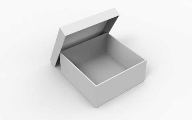 Otwarte pudełka kwadratowe z otwartym wieczkiem