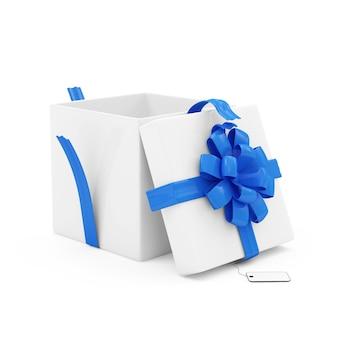Otwarte pudełko na biały